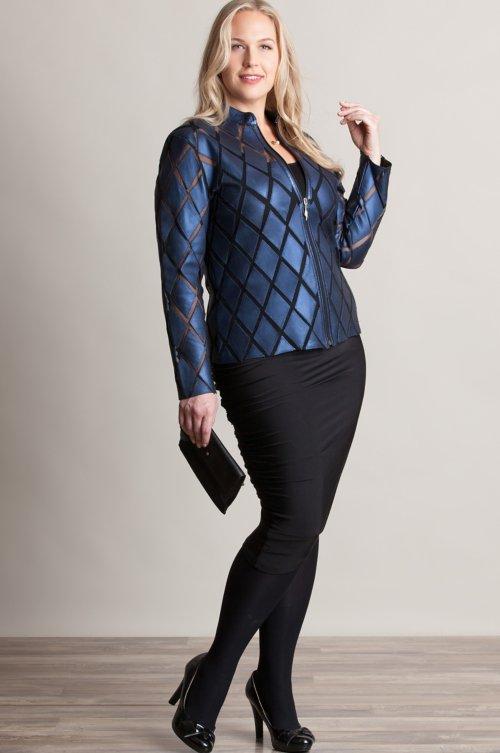 Dover Patterned Lambskin Leather Jacket - Plus (18-24)
