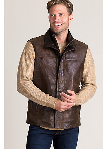 Durango Distressed Lambskin Leather Vest