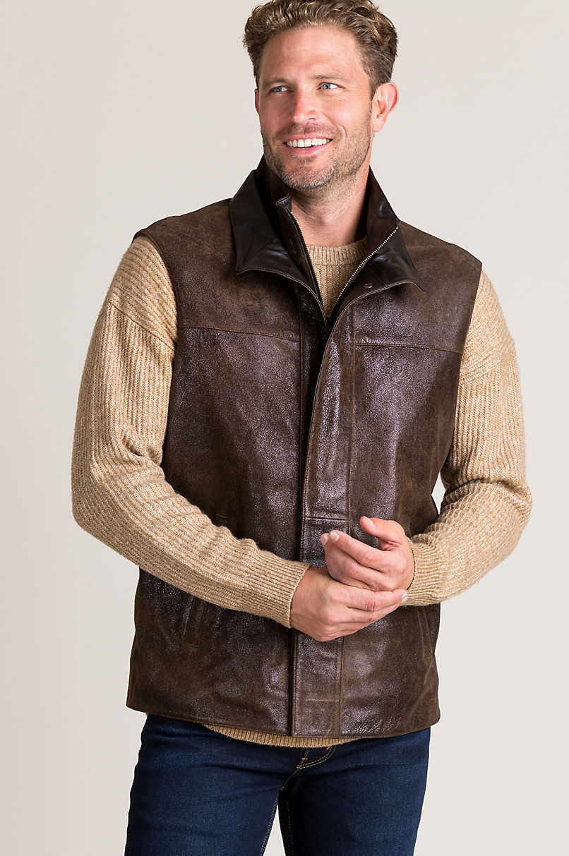 Manchester Distressed Lambskin Leather Vest