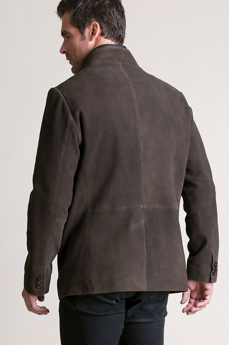 Steven Goatskin Suede Leather Blazer Jacket