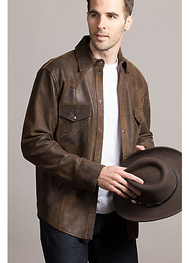 Shane Goatskin Suede Leather Western Shirt Jacket – Tall (42L – 50L)