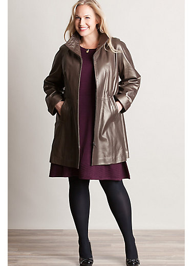 Karen Italian Lambskin Leather Coat - Plus (14-24)