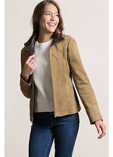 Sierra Goatskin Suede Leather Jacket with Buffalo Leather Trim