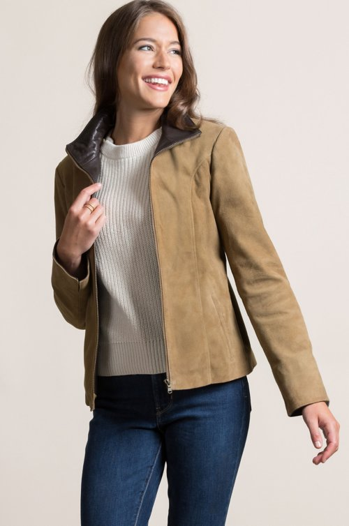 Sierra Goatskin Suede Leather Jacket with Buffalo Leather Trim