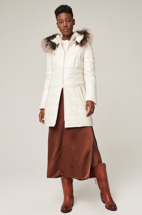 Maria Hooded Lambskin Leather Jacket with Raccoon Fur Trim