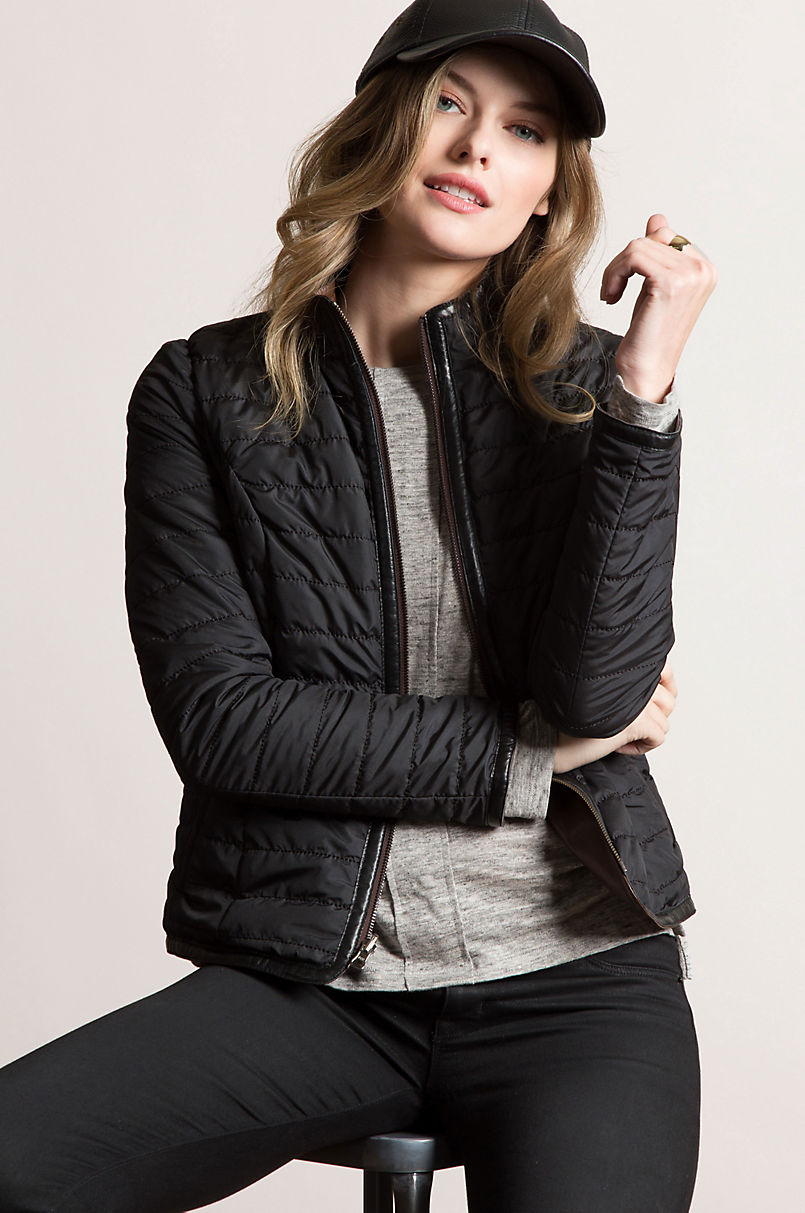 Virginia Reversible Lambskin Leather and Quilted Moto Jacket