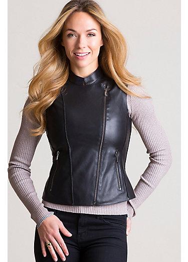 Glenda Italian Lambskin Leather Peplum Moto Vest