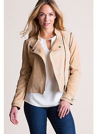 Barbara Goatskin Suede Convertible Moto Vest Jacket
