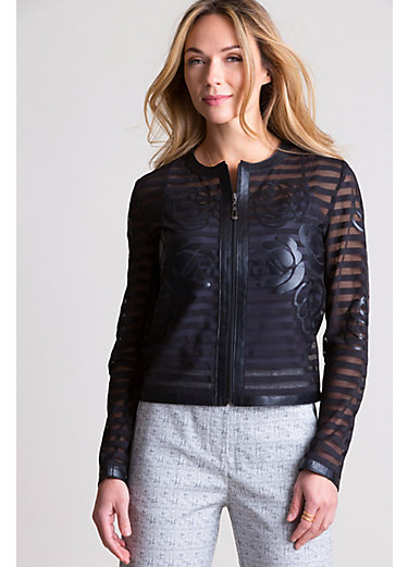 Sylvia Italian Lambskin Leather Mesh Jacket