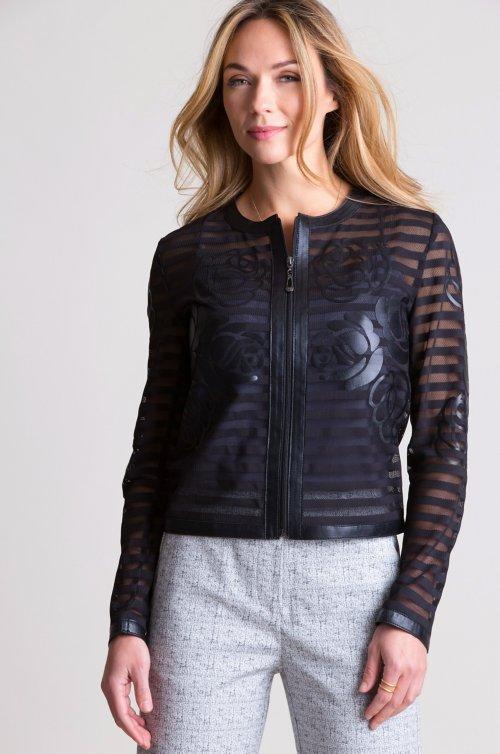 Sylvia Italian Lambskin Leather Mesh Jacket