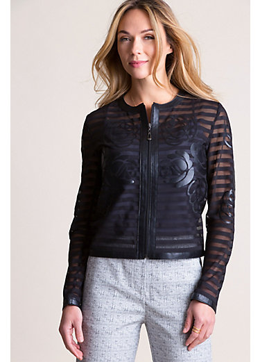Sylvia Italian Lambskin Leather Mesh Jacket - Plus (18-24)