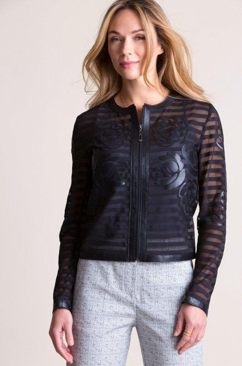 Sylvia Italian Lambskin Leather Mesh Jacket - Plus (18-24)
