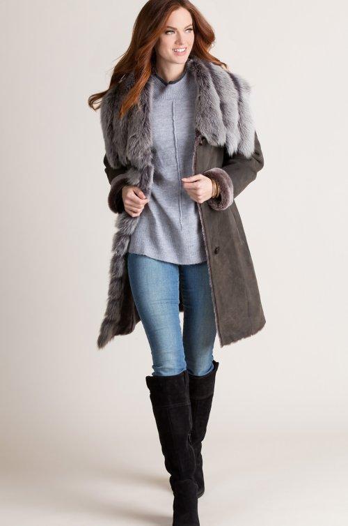 Nova Spanish Merino Shearling Sheepskin Coat with Fox Fur Trim