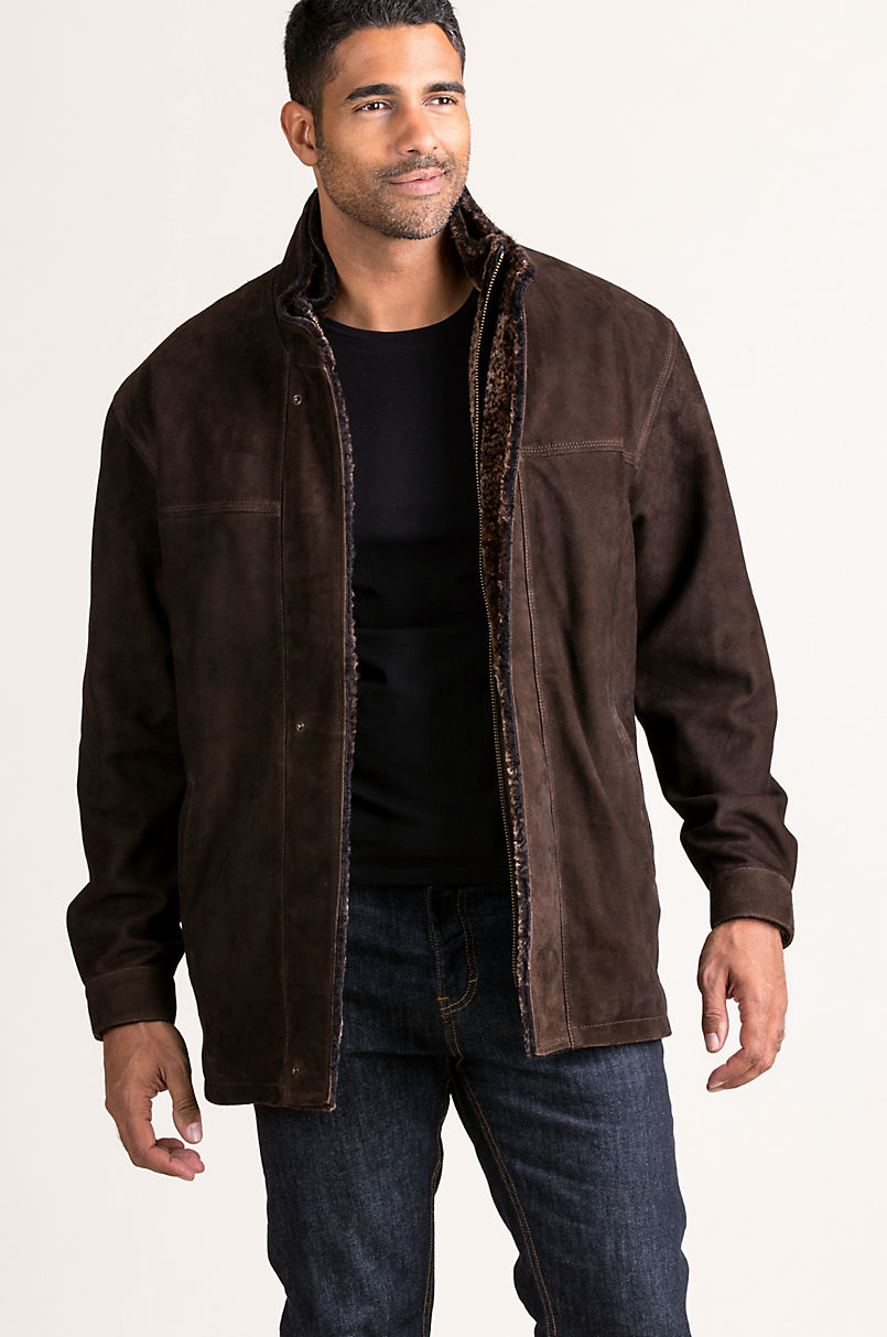 Corbin Goatskin Suede Leather Coat with Removable Shearling Lining