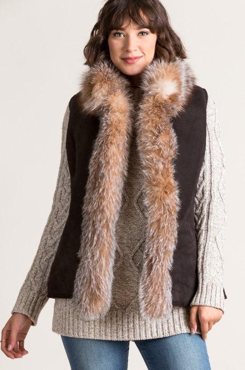 Chantal Reversible Sheepskin Vest with Finnish Fox Fur Trim