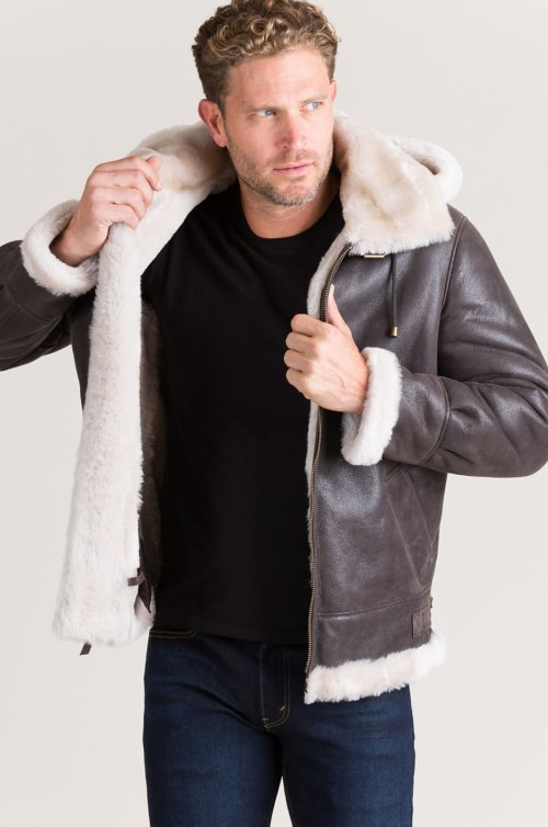 Classic Sheepskin B-3 Bomber Jacket with Detachable Hood – Big (58 – 64)