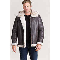 Men's Vintage Style Coats and Jackets Classic Shearling B-3 Bomber Jacket with Detachable Hood â Tall 38LT â 56LT $645.00 AT vintagedancer.com