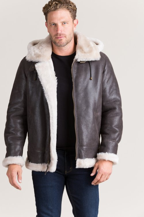 Overland Classic Shearling Sheepskin B-3 Bomber Jacket with Detachable Hood – Tall (38L – 56L)