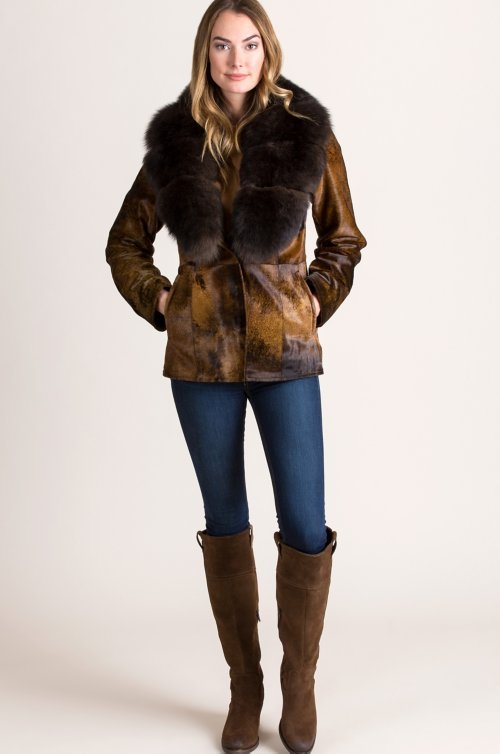 Aria New Zealand Calfskin Leather Jacket with Detachable Fox Fur Collar