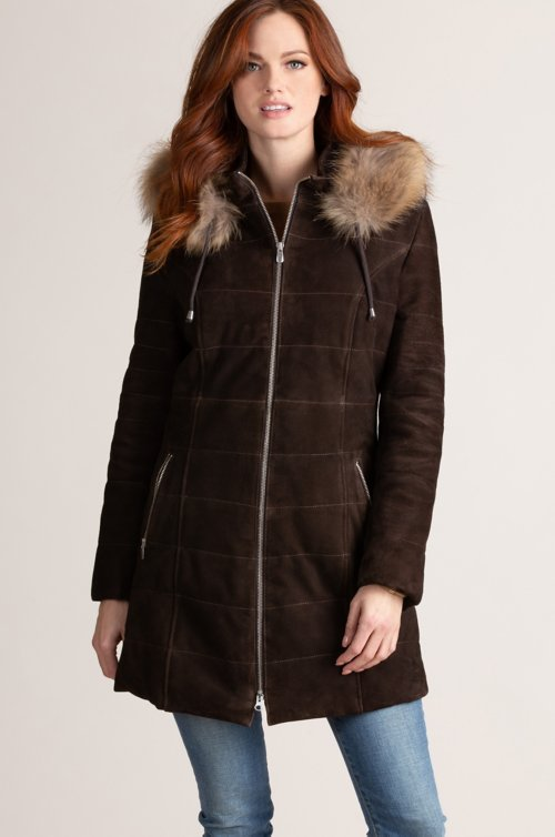 Maria Hooded Goatskin Suede Coat with Raccoon Fur Trim