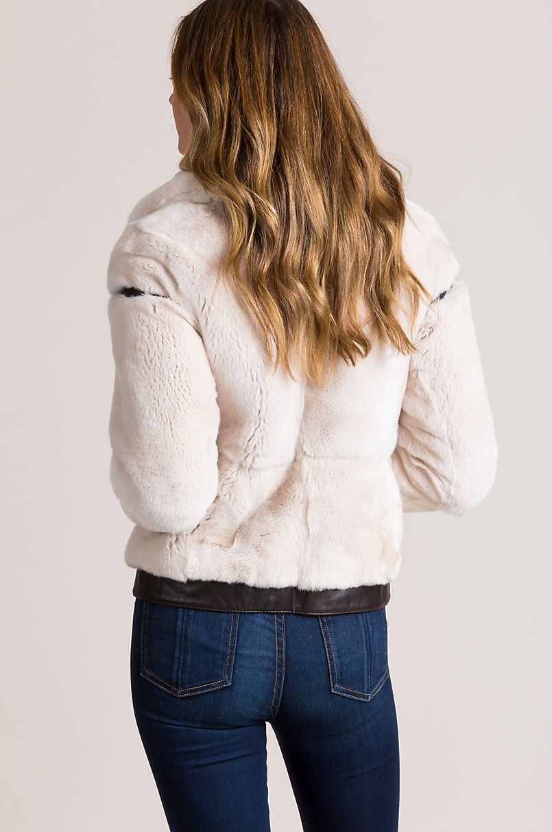 Lucille Rex Rabbit Fur Bomber Jacket with Lambskin Leather Trim
