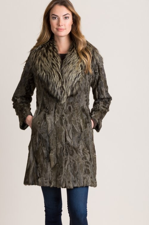 Roxanne Persian Lamb Fur Coat with Fox Fur Collar
