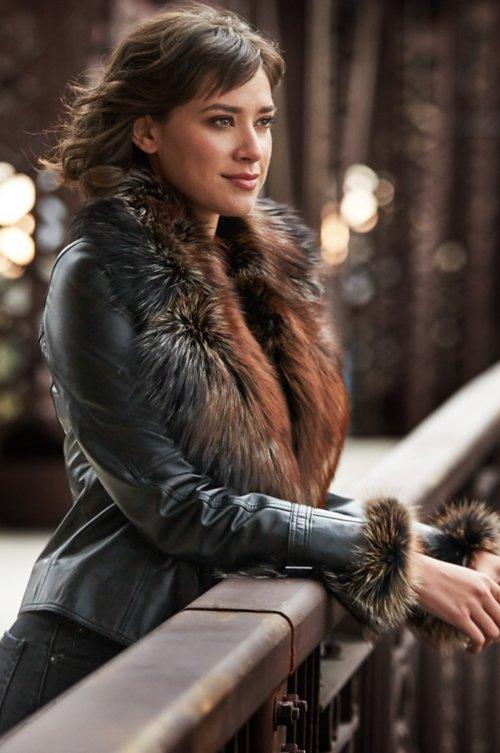 513916bb34322 Celestine Lambskin Leather Moto Jacket with Fox Fur Trim