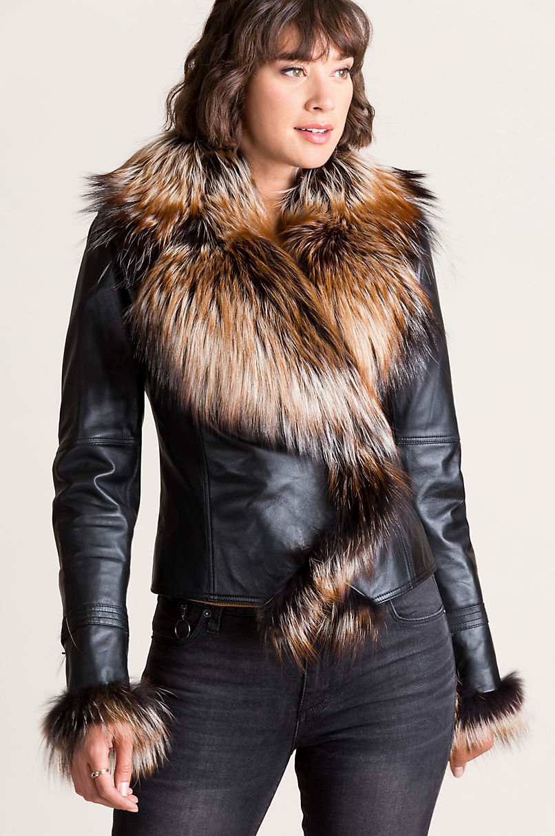 efa57b30c271 Celestine Lambskin Leather Moto Jacket with Fox Fur Trim