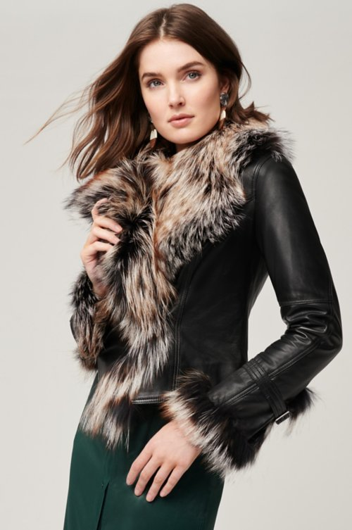 4052e943a6e Celestine Lambskin Leather Moto Jacket with Fox Fur Trim. Style   16107