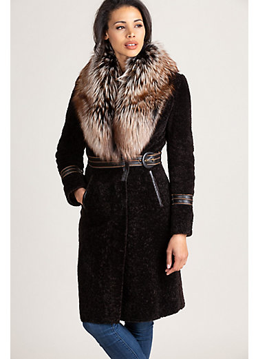 Rochelle Astrakhan Lamb Fur Coat with Silver Fox Fur Collar