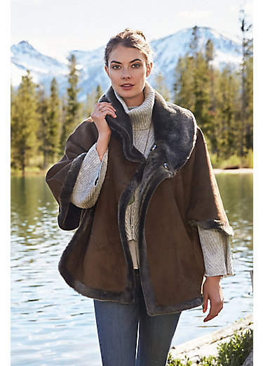 Shirley Reversible Merino Shearling Sheepskin Cape