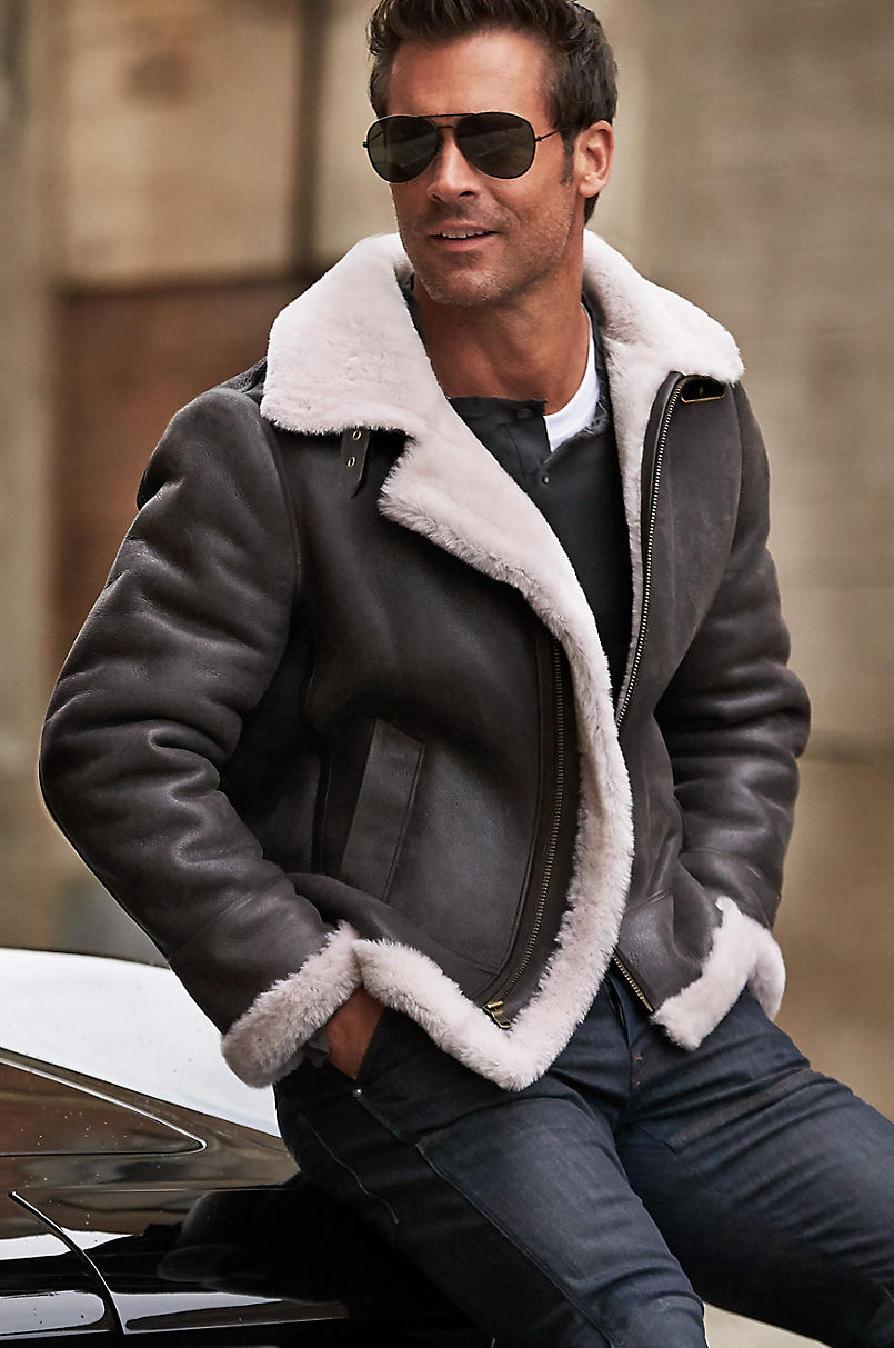 Men's Vintage Style Coats and Jackets Overland Classic Sheepskin B-3 Bomber Jacket with Detachable Hood $595.00 AT vintagedancer.com