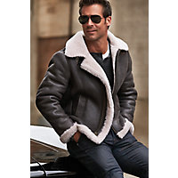 1930s Men's Clothing Overland Classic Sheepskin B-3 Bomber Jacket with Detachable Hood $595.00 AT vintagedancer.com
