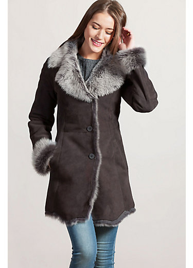 Tina Spanish Merino Shearling Sheepskin Coat with Toscana Trim