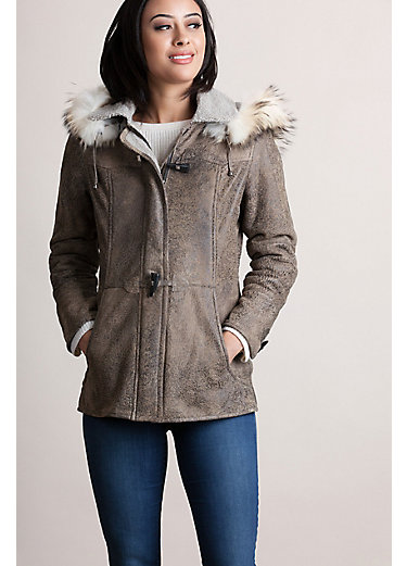 Gwyneth Distressed Curly Sheepskin Jacket with Raccoon Fur Trim
