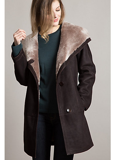 Millie Hooded Merino Shearling Sheepskin Jacket