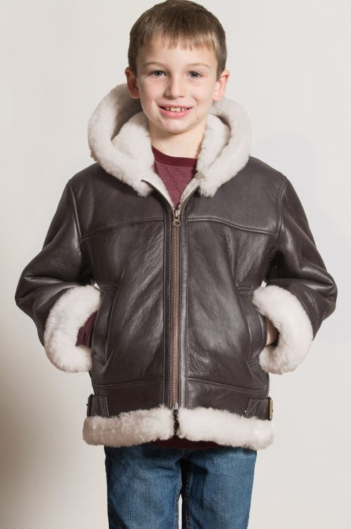 Children's Unisex Sheepskin B-3 Bomber Jacket
