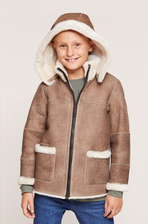 Children's Shearling Sheepskin Jacket with Detachable Hood
