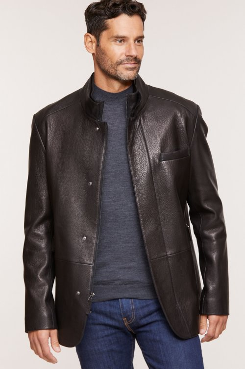 Steven Latigo Lambskin Leather Blazer Jacket
