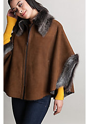 Faye Shearling Sheepskin Cape with Toscana Trim