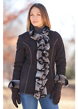 Galena Shearling Sheepskin Jacket with Rex Rabbit Fur Trim