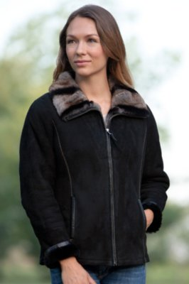 Charmaine Shearling Sheepskin Jacket with Rex Rabbit Fur Collar