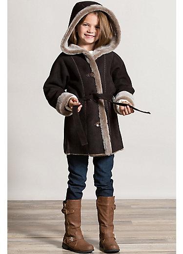 Girl's Isabella Belted Shearling Sheepskin Stroller with Hood