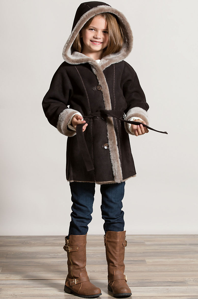 Girl's Isabella Belted Shearling Sheepskin Stroller with Hood