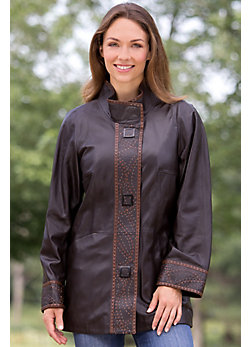 Joetta Lambskin Leather Coat