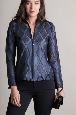 Dover Patterned Lambskin Leather Jacket