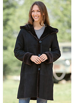 Ellery Hooded Shearling Sheepskin Coat