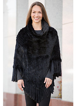 Abra Knitted Danish Mink Fur Poncho