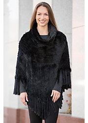 Abra Knitted Danish Mink Fur Poncho