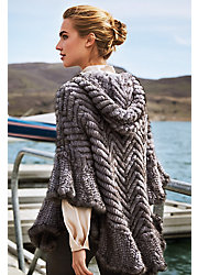 Bettina Herringbone Zip Knitted Mink Fur Poncho